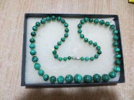 Vintage Malachite Jewellery - Necklace & 2 Bangle Bracelets