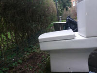 Compact, contempory Orchard Wye toilet pan, soft close seat, cistern (no lid) and flushing mechanism