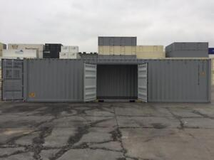 40' Shipping Container with 2 man doors in the side - The Container Guy