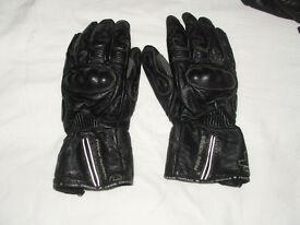 FRANK THOMAS, mens, black leather motor bike gloves, size XXL