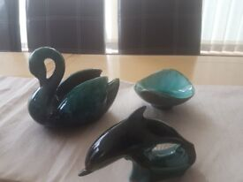 Blue mountain pottery Dolphin, Swan and dish
