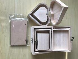 Wooden boxes and plaque