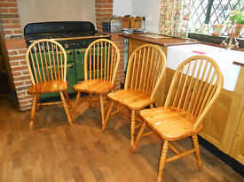 Four, pine, farmhouse ,spindle back chairs