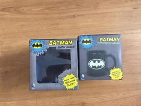 Batman bath duck and batman mug glow in the dark