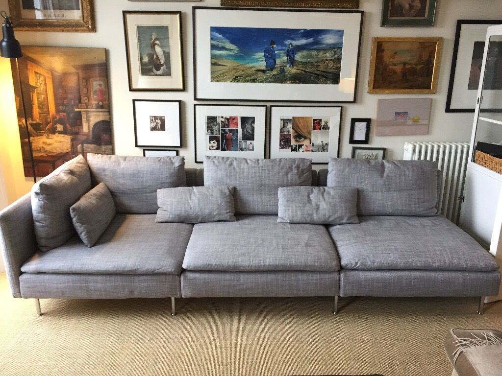 Ikea s derhamn light grey long sofa in highgate london for Ikea gray sofa