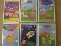 6 Peppa Pig DVD's - Muddles Puddles, Stars, Balloon Ride, Fire Engine, Birthday Party & Princess