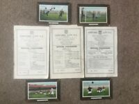 Football programmes and postcards.