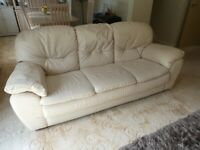 Cream Leather Sofa Suite