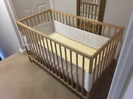 EXCELLENT CONDITION BABY COT WITH MATTRESS AND SIDE PROTECTORS