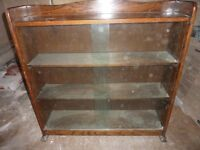 GLASS FRONTED DISPLY CABINET/BOOK CASE, SOLID OAK MAIN CASE. GOOD CONDITION.