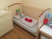 Adjustable Cot Bed & 3 Drawer Dresser