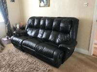 Black leather sofa and recliner 3+1