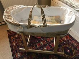 Moses basket and stand, with 2 sheets and 2 sets of liners (neutral and pink)