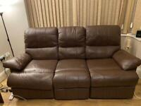 Brown real leather recliner sofa