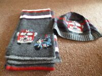Monsoon Scarf and Hat with fire Engine motif.