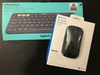 Bluetooth Logitech keyboard and Microsoft bluetooth mouse, brand new and in original packaging