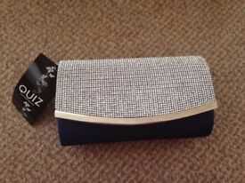 Diamante Clutch bag with attachable straps midnight blue back