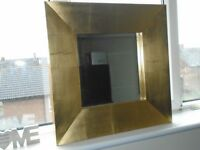 shabby chic square gold mirror
