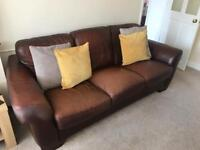 Large 3 seater brown leather couch