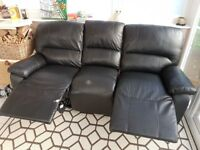Black leather 3 seater 2 reclining sofa