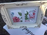 Laura Ashley print inside a heavy plaster frame