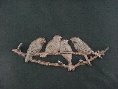 "Ornamental Iron Forest Birds Key Rack Wall Plaque Cast Iron 11"" Figurine"