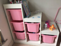 Storage combination with PINK boxes IKEA (TROFAST)