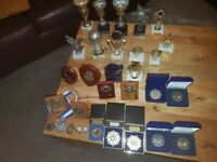 Mixture of football trophies