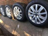 "15"" VW Caddy alloy wheels +new Avon tyres Golf 5x112"