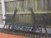 Rose & Vine Design Cast Iron Garden Bench Sets