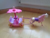 Barbie Princess Charm School Carriage and Horse with Pop-Up Canopy