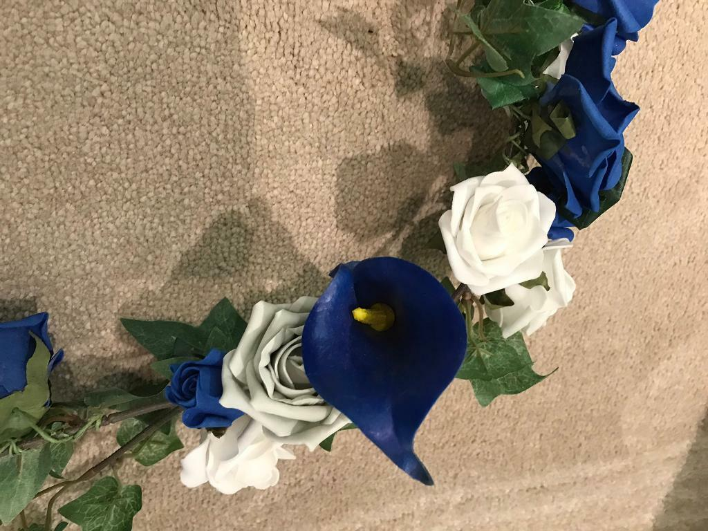 Royal Blue And White Rose Flower Garland Wedding In Kesgrave