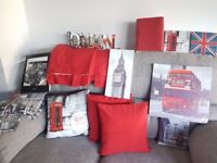 London Theme Double Bed Set with two pillowcases and Unused New Accessories