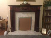 Mahogany Fireplace with Marble inset & Harth