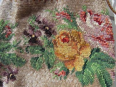 Rosen & Stiefmütterchen Glas ~ Perlen ~ Tasche ~ Beutel ~ Stickerei Hand Tasche