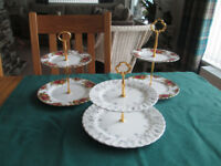 SET OF 3 SMALL CAKE STANDS IDEAL FOR CREAM TEAS / COFFEE SHOPS CAFES etc