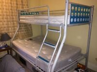 Bunk Bed double bottom with single top - excellent condition mattresses