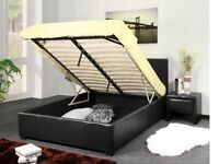 DOUBLE OTTOMAN LIFT UP STORAGE LEATHER BED WITH LIGHT QUILT MATTRESS - BRAND NEW - FAST DELIVERY