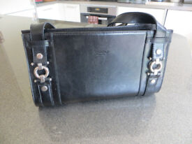Black Leather Handbag with silver coloured detail