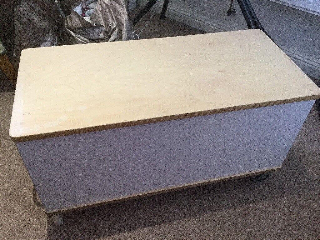 Ikea White Wooden Toy Storage Box On 2 Wheels