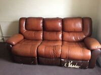 Reclining 3 seater sofa and armchair