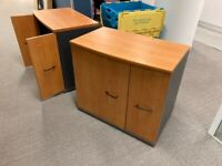 Neoteric 3-drawer, 2-tier yew wood office credenza/tambour £95 each 2 available