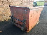 Forklift tipping skip with tractor Chilton loader brackets fitted
