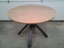 Ex display Round Dining table. Bargain. Wood effect top / black metal legs. Can deliver.