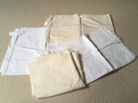 Izziwotnot cream and white crib / Moses basket flat sheets x4 and fitted sheets x5
