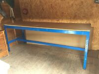 Workbench with 3 stools plus replacement top, 276cms x 75cms