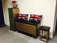 Custom made Copper ottoman / storage seat / cupboard & stool set