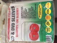 CD/DVD plastic sleeves 120 microns, 100 in a pack, cheap bulk, job lot