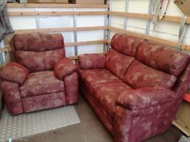 Two seater sofa with matching electric arm chair