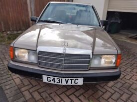 Mercedes Benz 190E 2.0 Auto 1990 Classic Car Excellent Condition Luxury Beige Leather Interior £2300